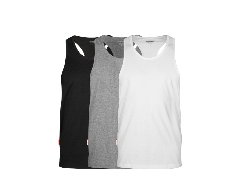 aussieBum Menswear Pima Cotton Singlet 3 Pack Grey/Black/White