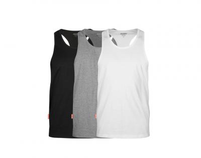 aussieBum Menswear Pima Cotton Singlet 3 Pack Grey/Black/White Tops