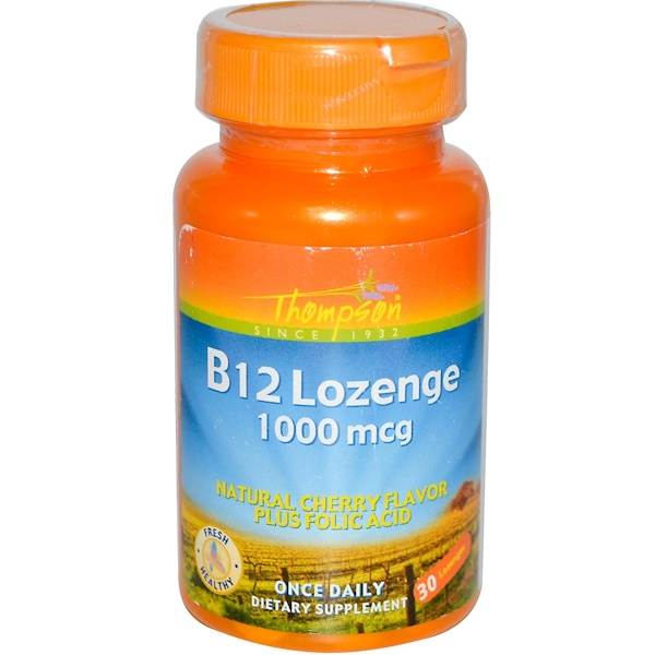 Thompson, B12 Lozenge, Natural Cherry Flavor, 1000 mcg, 30 Lozenges