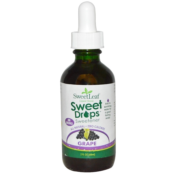 Wisdom Natural, SweetLeaf, Liquid Stevia Sweet Drops, Grape, 2 fl oz (60 ml)