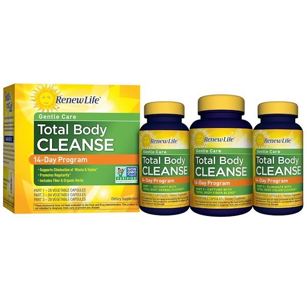 Renew Life, Total Body Cleanse, Complete 14-Day Internal Cleanse, 3-Part Program, 3 Bottles