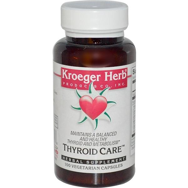 Kroeger Herb Co, Thyroid Care, 100 Veggie Caps
