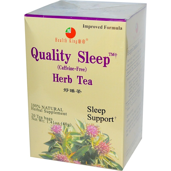Health King, Quality Sleep, Herb Tea, Caffeine Free, 20 Tea Bags, 1.41 oz (40 g)
