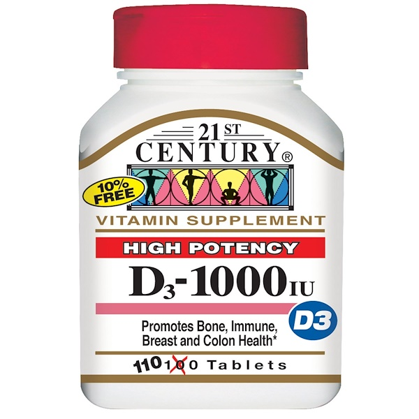 21st Century, Vitamin D3, High Potency, 1000 IU, 110 Tablets