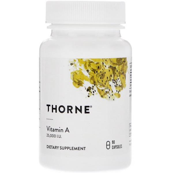 Thorne Research, Vitamin A, 25,000 IU, 90 Capsules