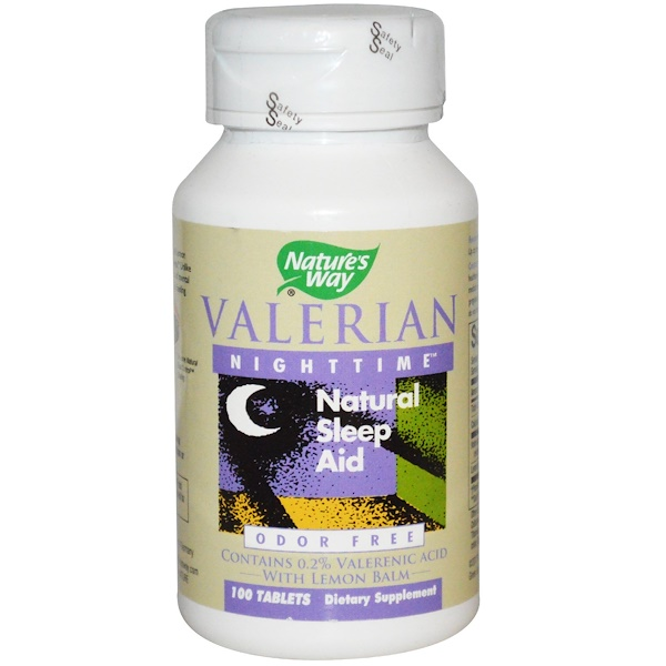 Nature's Way, Valerian Nighttime, Natural Sleep Aid, Odor Free, 100 Tablets