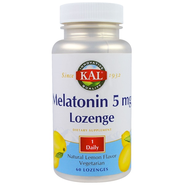 KAL, Melatonin Lozenge, Natural Lemon Flavor, 5 mg, 60 Lozenges