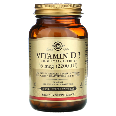 Solgar, Vitamin D3 (Cholecalciferol), 55 mcg (2,200 IU), 100 Vegetable Capsules
