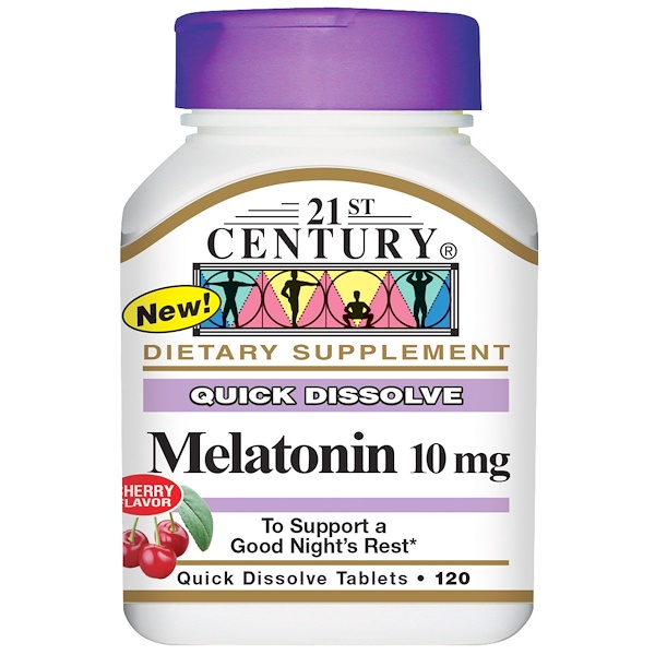 21st Century, Melatonin, Cherry Flavor, 10 mg, 120 Quick Dissolve Tablets