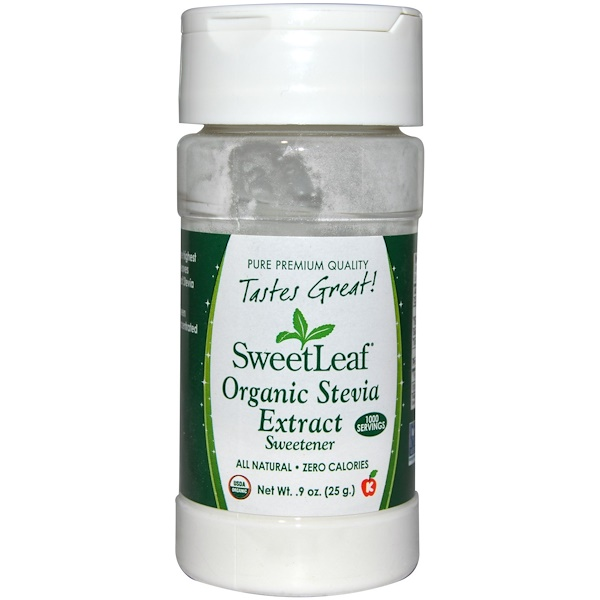 Wisdom Natural, SweetLeaf, Organic Stevia Extract, Sweetener, .9 oz (25 g)