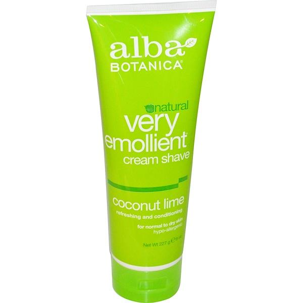 Alba Botanica, Very Emollient Cream Shave, Coconut Lime, 8 oz (227 g)