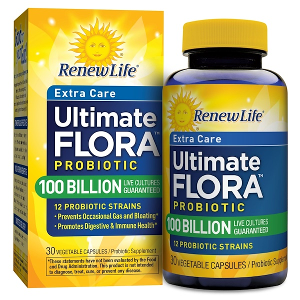 Renew Life, Ultimate Flora, Ultra Potent, 100 Billion, 30 Veggie Caps