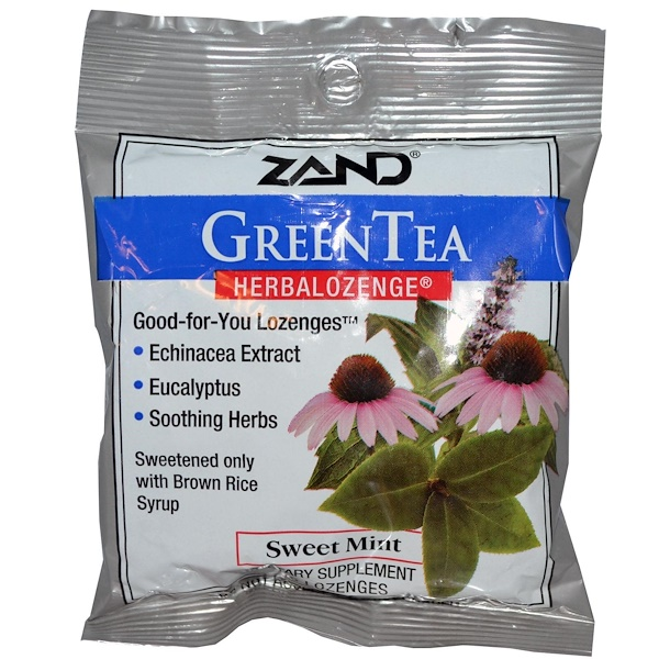 Zand, GreenTea, Herbalozenge, Sweet Mint, 15 Lozenges