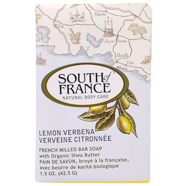 South of France, Lemon Verbena, French Milled Bar Soap with Organic Shea Butter, 1.5 oz (42.5 g)