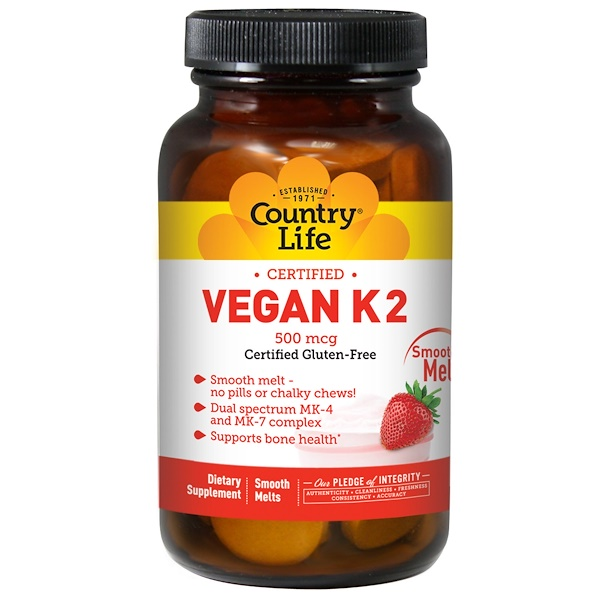 Country Life, Gluten Free, Vegan K2, Strawberry, 500 mcg, 60 Smooth Melts