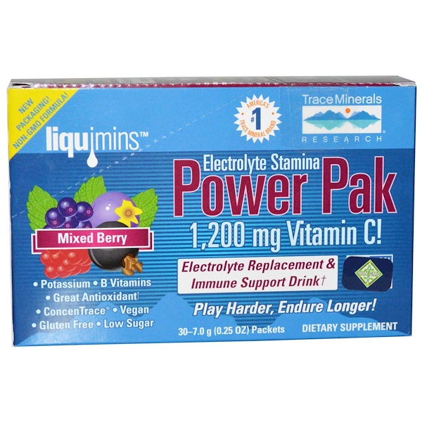 Trace Minerals Research, Electrolyte Stamina Power Pak, Mixed Berry, 1200 mg, 30 Packets, 0.25 oz (7.0 g)