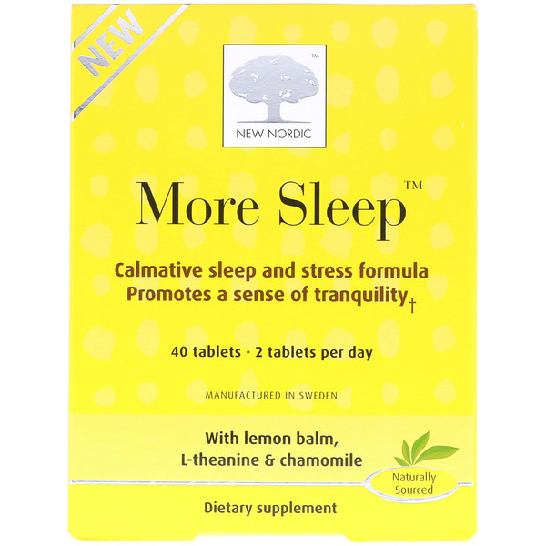New Nordic US Inc, More Sleep, Calmative Sleep and Stress Formula, 40 Tablets