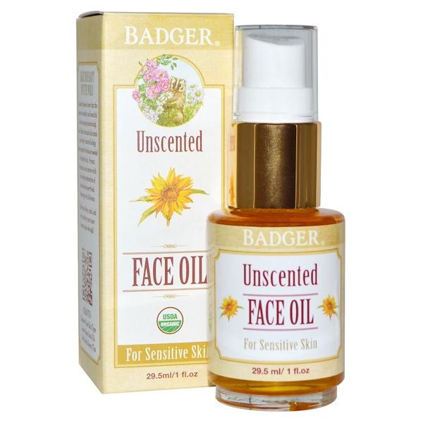 Badger Company, Unscented Face Oil, For Sensitive Skin, 1 fl oz (29.5 ml)