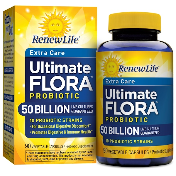 Renew Life, Ultimate Flora Probiotic, Extra Care, 50 Billion, 90 Veggie Caps