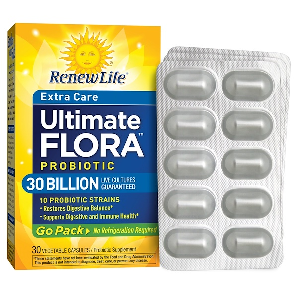 Renew Life, Extra Care Ultimate Flora Probiotic, 30 Billion, 30 Veggie Caps
