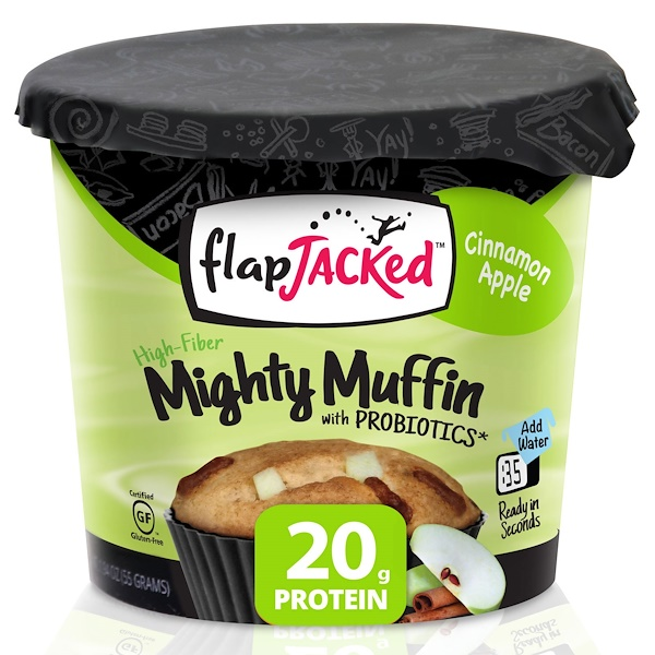 FlapJacked, Mighty Muffin, with Probiotics, Cinnamon Apple, 1.94 oz (55 g)