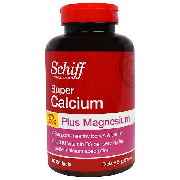 Schiff, Super Calcium, Plus Magnesium, 90 Softgels