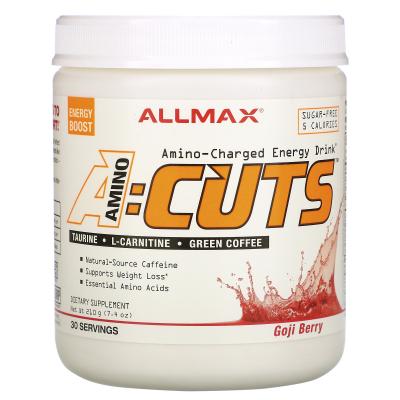 ALLMAX Nutrition, AMINOCUTS (ACUTS), Weight-Loss BCAA (CLA + Taurine + Green Coffee), Goji Berry Martini, 7.4 oz (210 g)