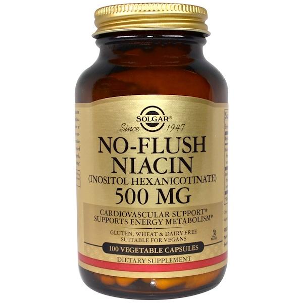 Solgar, No-Flush Niacin, 500 mg, 100 Vegetable Capsules