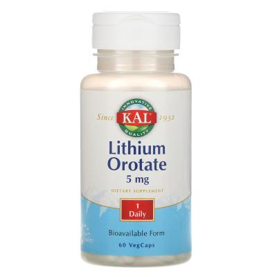 KAL, Lithium Orotate, 5 mg, 60 VegCaps