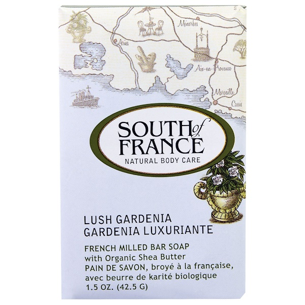 South of France, French Milled Bar Soap with Organic Shea Butter, Lush Gardenia, 1.5 oz (42.5 g)