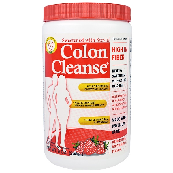 Health Plus Inc., Colon Cleanse, Sweetened with Stevia, Refreshing Strawberry Flavor, 9 oz (255 g)