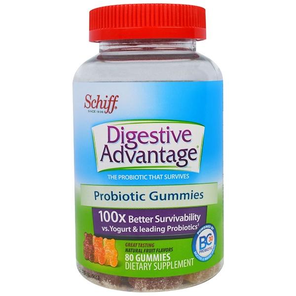 Schiff, Digestive Advantage, Probiotic Gummies, Natural Fruit Flavors, 80 Gummies