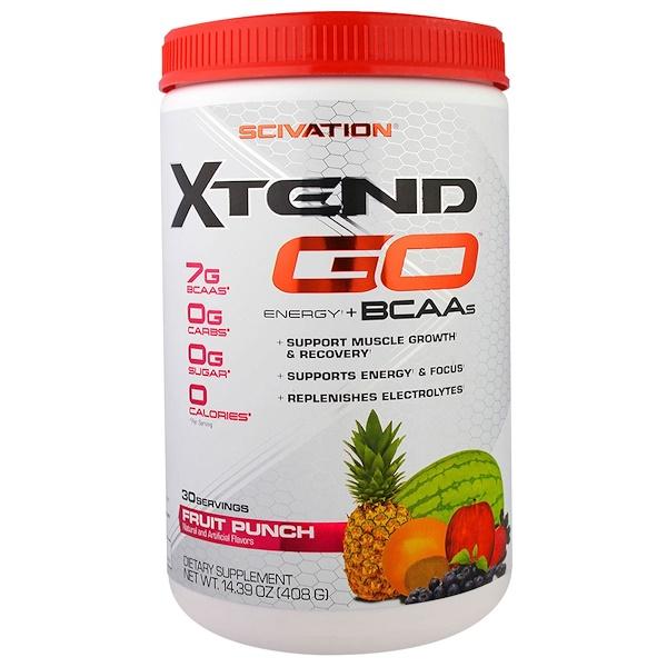 Scivation, Xtend GO, Energy + BCAAs, Fruit Punch, 14.39 oz (408 g)