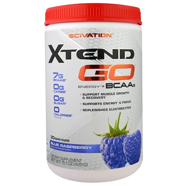 Scivation, Xtend GO, Energy + BCAAs, Blue Raspberry, 15.1 oz (429 g)