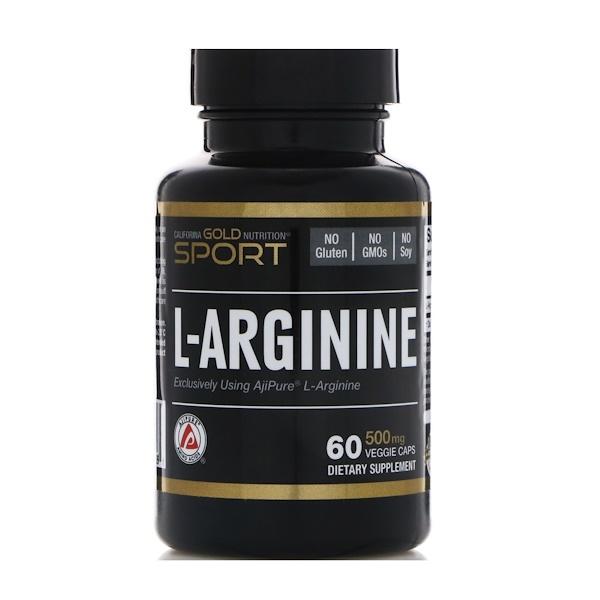 California Gold Nutrition, L-Arginine, AjiPure, 500 mg, 60 Veggie Caps