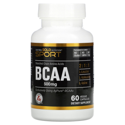 California Gold Nutrition, BCAA, AjiPure, Branched Chain Amino Acids, Gluten Free, 500 mg, 60 Veggie Caps