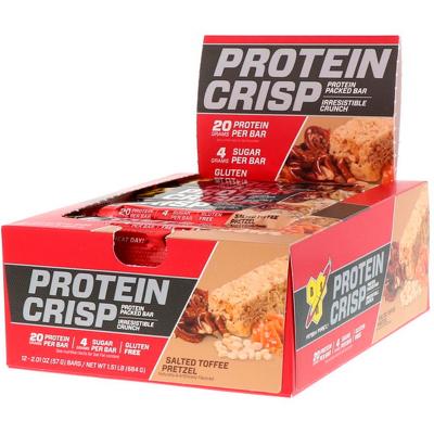 BSN, Protein Crisp, Packed Prtein Bar, Salted Toffee Pretzel, 12 Bars, 2.01 oz (57 g)