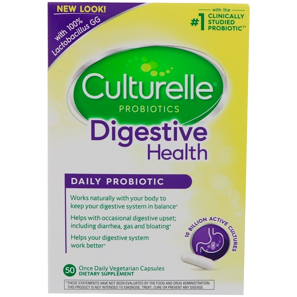 Culturelle, Digestive Health, Daily Probiotic, 50 Once Daily Vegetarian Capsules