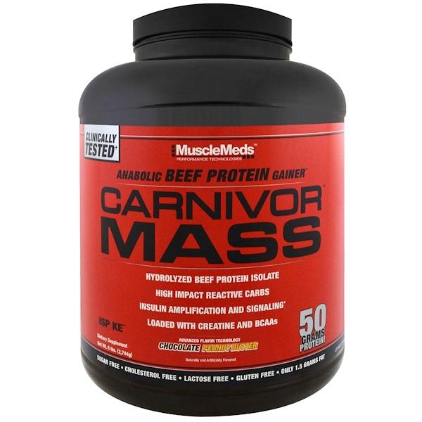 MuscleMeds, Carnivor Mass, Chocolate Peanut Butter, 6 lbs (2,744 g)