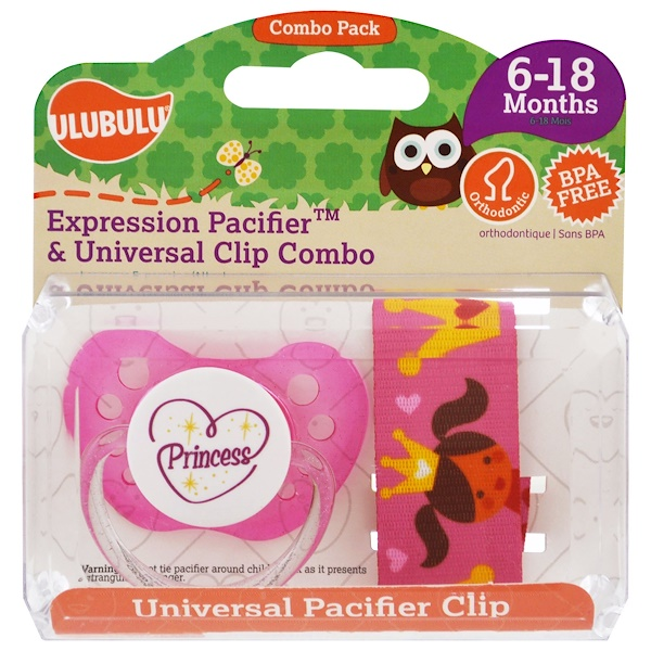 Ulubulu, Expression Pacifiers & Universal Clip Combo, Princess, 6-18 Months, 2 Pieces
