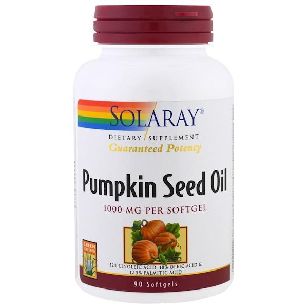 Solaray, Pumpkin Seed Oil, 1000 mg , 90 Softgels