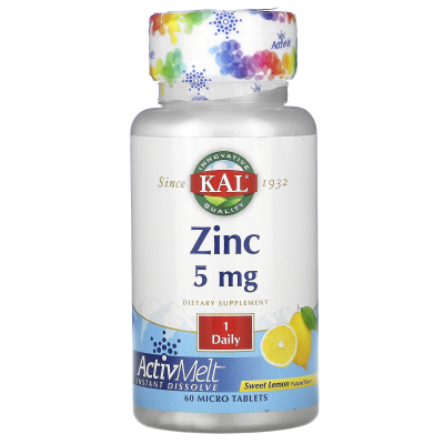 KAL, Zinc, Sweet Lemon, 5 mg , 60 Micro Tablets