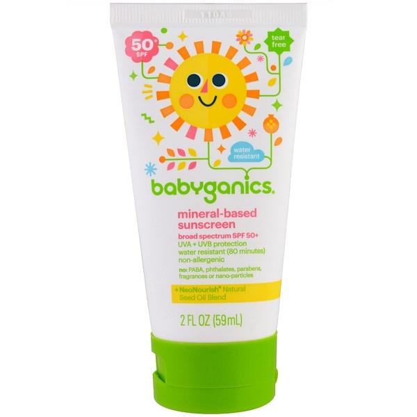 BabyGanics, Mineral Based Sunscreen Lotion, SPF 50+, 2 oz (59 ml)