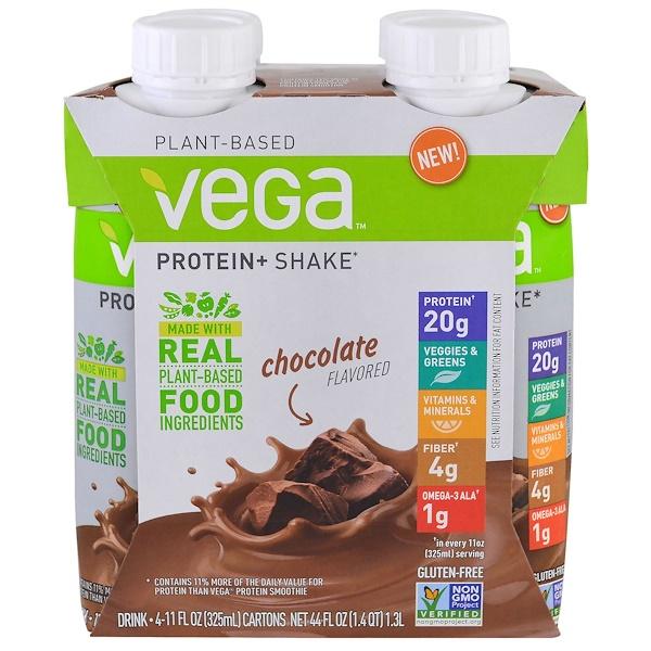 Vega, Protein + Shake, Chocolate, 4 Pack, 11 fl oz (325 ml) Each