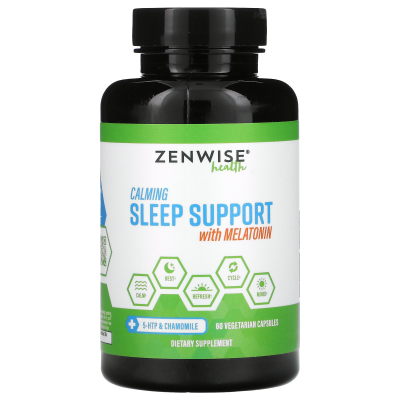 Zenwise Health, Calming Sleep Support With Melatonin, 60 Vegetarian Capsules