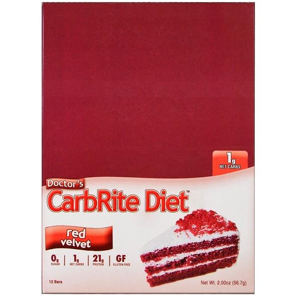 Universal Nutrition, Doctor's CarbRite Diet, Red Velvet, 12 Bars, 2.00 oz (56.7 g) Each