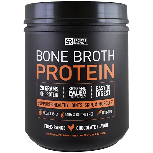 Sports Research, Bone Broth Protein, Chocolate, 18.9 oz (536 g)