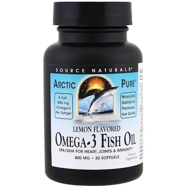 Source Naturals, ArcticPure, Omega-3 Fish Oil, Lemon , 800 mg , 30 Softgels