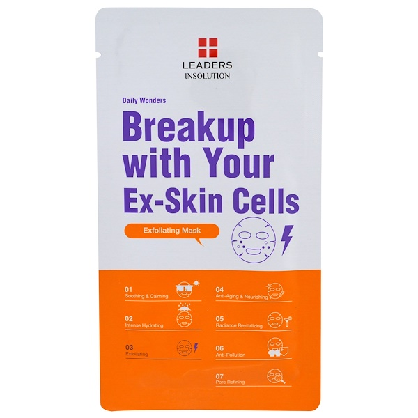 Leaders, Daily Wonders, Breakup with Your Ex-Skin Cells Exfoliating Mask, 1 Mask
