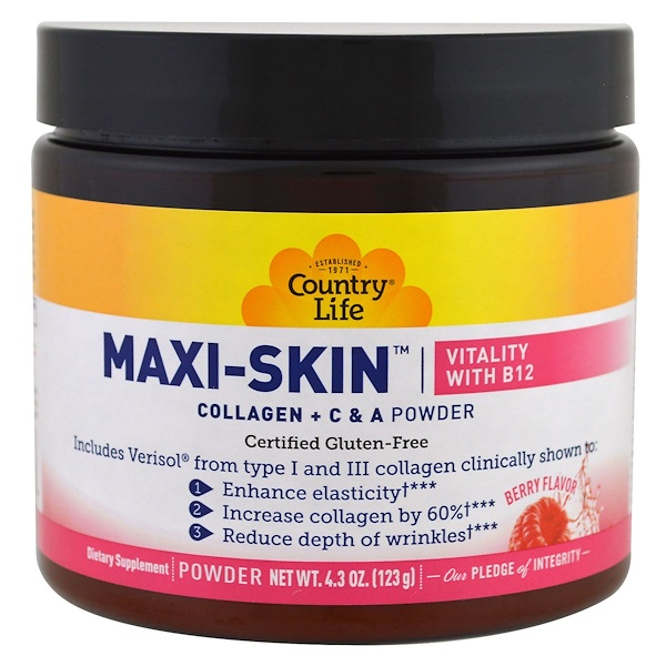Country Life, Maxi-Skin, Vitality with B12, Berry Flavor, Powder, 4.3 oz (123 g)